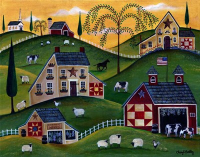 American Organic Herb  Sheep Cow Farmland Poster by Cheryl Bartley for $42.50 CAD