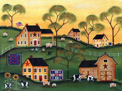 American Sunshine Country Farm Poster by Cheryl Bartley for $41.25 CAD