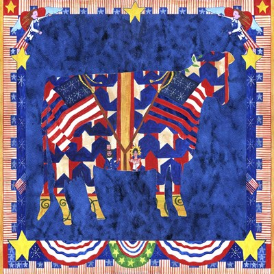 American Folk Art Cow Poster by Cheryl Bartley for $48.75 CAD