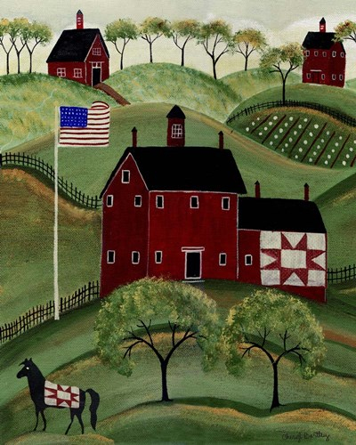 American Red Quilt House Poster by Cheryl Bartley for $40.00 CAD