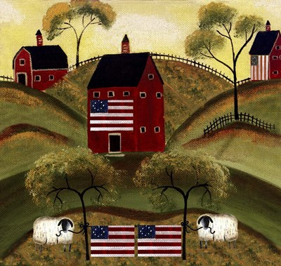 4th July Sheep Red Barns Poster by Cheryl Bartley for $47.50 CAD