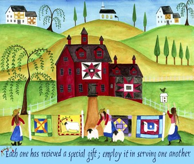Red Barn Quilt House Poster by Cheryl Bartley for $57.50 CAD