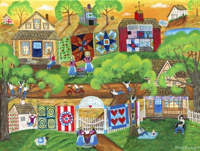 Olde Tyme Village Quilt Maker Poster by Cheryl Bartley for $53.75 CAD