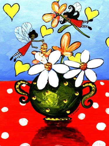 Flower Arranging Fairies Poster by Cherie Roe Dirksen for $41.25 CAD