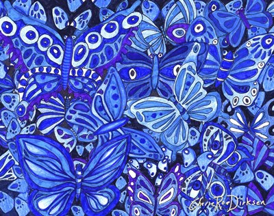Indigo Butterfly Collage Poster by Cherie Roe Dirksen for $38.75 CAD