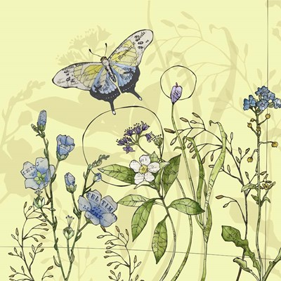 Butterfly & Flowers Poster by Christine Anderson Illustration for $48.75 CAD