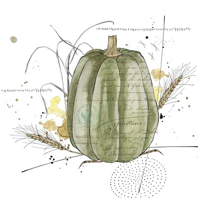 Fall Harvest - Green Pumpkin Poster by Christine Anderson Illustration for $35.00 CAD