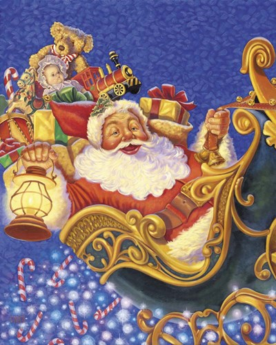 Santa Sleigh Sparkles Poster by Christopher Nick for $56.25 CAD