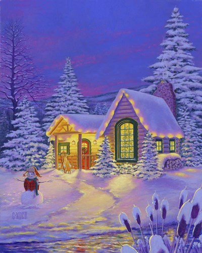 Xmas Cabin Poster by Christopher Nick for $56.25 CAD