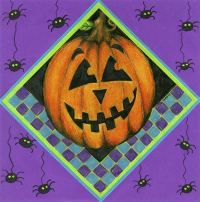 Jack o Lantern with Purple Spiders Poster by Claudia Interrante for $42.50 CAD