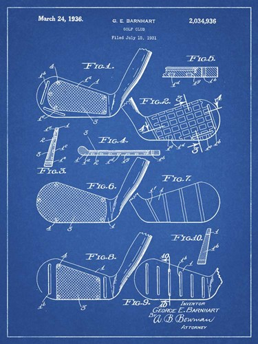 Golf Club Patent - Blueprint Poster by Cole Borders for $41.25 CAD