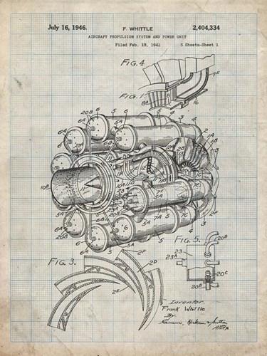 Aircraft Propulsion & Power Unit Patent - Antique Grid Parchment Poster by Cole Borders for $41.25 CAD