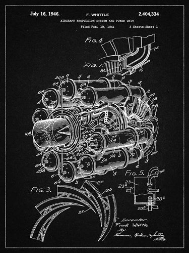 Aircraft Propulsion & Power Unit Patent - Vintage Black Poster by Cole Borders for $41.25 CAD