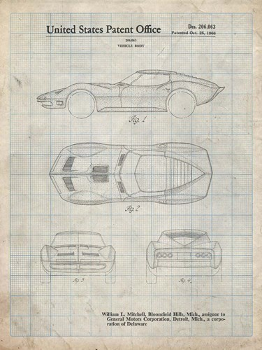 Vehicle Body Patent - Antique Grid Parchment Poster by Cole Borders for $41.25 CAD