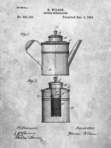 Coffee Percolator Patent - Slate Poster by Cole Borders for $41.25 CAD