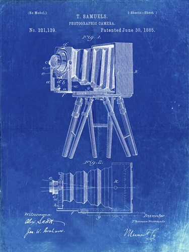 Photographic Camera Patent - Faded Blueprint Poster by Cole Borders for $41.25 CAD