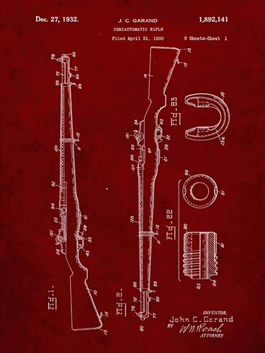 Semi-Automatic Rifle Patent - Burgundy Poster by Cole Borders for $41.25 CAD
