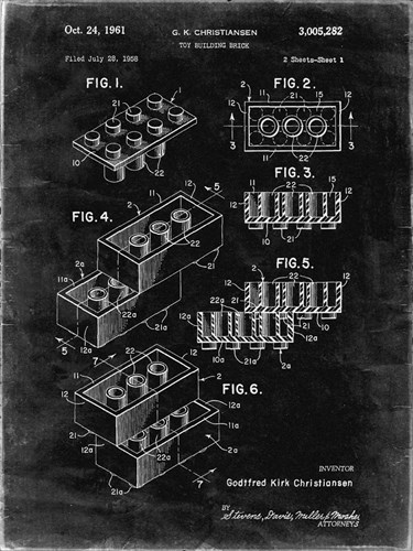 Toy Building Brick Patent - Black grunge Poster by Cole Borders for $41.25 CAD
