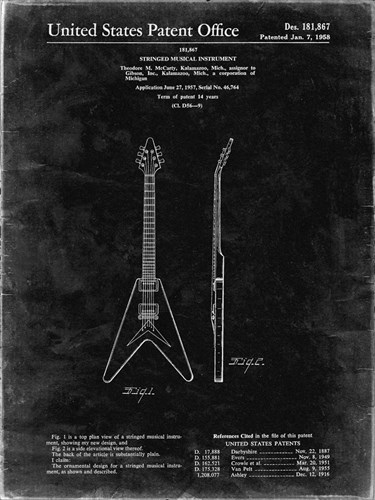 Stringed Musical Instrument Patent - Black Grunge Poster by Cole Borders for $41.25 CAD