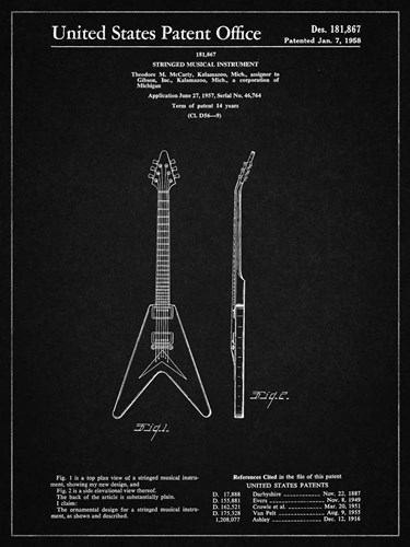 Stringed Musical Instrument Patent - Vintage Black Poster by Cole Borders for $41.25 CAD