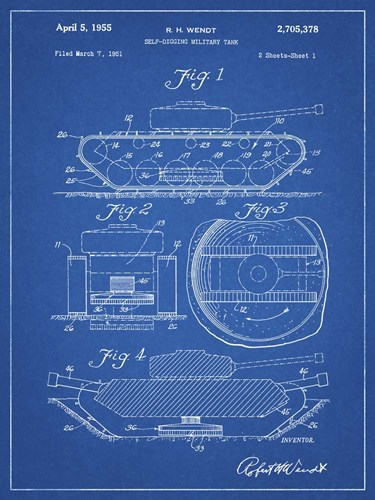 Blueprint Military Self Digging Tank Patent Poster by Cole Borders for $41.25 CAD