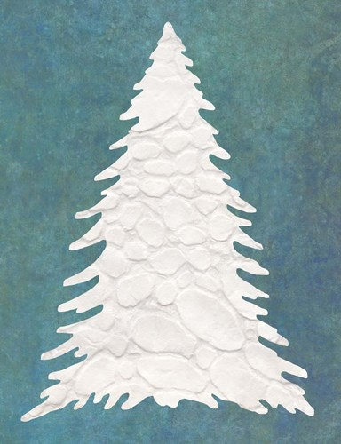 Snowy Fir Tree on Blue Poster by Cora Niele for $57.50 CAD