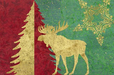 Xmas Tree and Moose Poster by Cora Niele for $43.75 CAD
