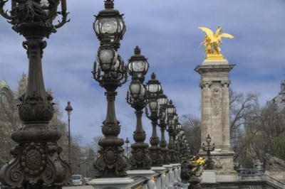 Art Nouveau Lamps Posts on Pont Alexandre III - I Poster by Cora Niele for $43.75 CAD