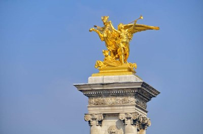 Golden Fame Statue On Pont Alexandre III - I Poster by Cora Niele for $43.75 CAD