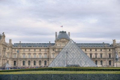 Louvre Palace And Pyramid I Poster by Cora Niele for $43.75 CAD