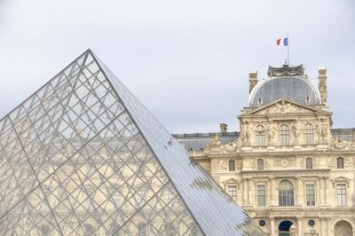 Louvre Palace And Pyramid II Poster by Cora Niele for $43.75 CAD