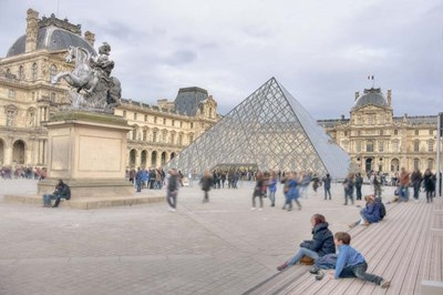 Louvre Palace And Pyramid IV Poster by Cora Niele for $43.75 CAD