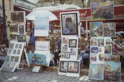 Monmartre Artist Working On Place du Tertre II Poster by Cora Niele for $43.75 CAD