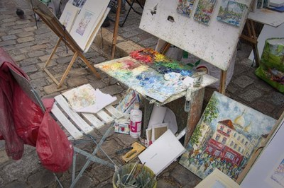 Monmartre Artist Working On Place du Tertre III Poster by Cora Niele for $43.75 CAD