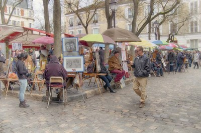 Monmartre Artist Working On Place du Tertre IV Poster by Cora Niele for $43.75 CAD