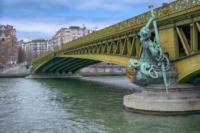 Pont Mirabeau Spans The Seine River Poster by Cora Niele for $43.75 CAD