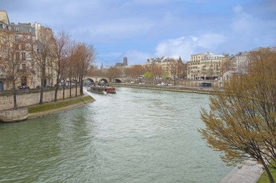 Seine River In Paris Center Poster by Cora Niele for $43.75 CAD
