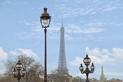Street Lamps And Eiffel Tower Poster by Cora Niele for $43.75 CAD