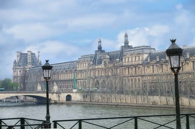 The Louvre Palace And Seine River Poster by Cora Niele for $43.75 CAD
