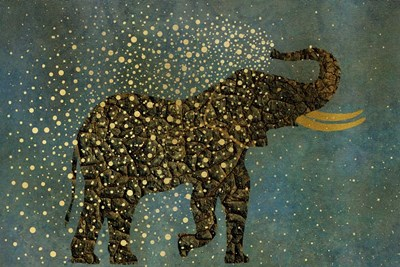 Gold Spraying Elephant Poster by Cora Niele for $43.75 CAD