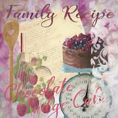Family Recipe Chocolate Fudge Cake Poster by Cora Niele for $56.25 CAD