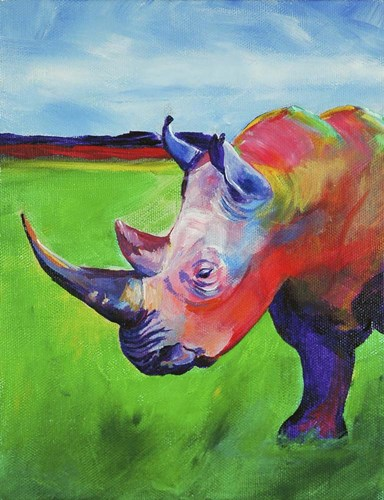 Painted Rhino Poster by Corina St. Martin for $40.00 CAD