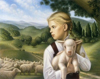 Girl With Lamb Poster by Dan Craig for $70.00 CAD