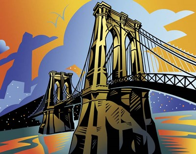 Brooklyn Bridge Poster by David Chestnutt for $55.00 CAD