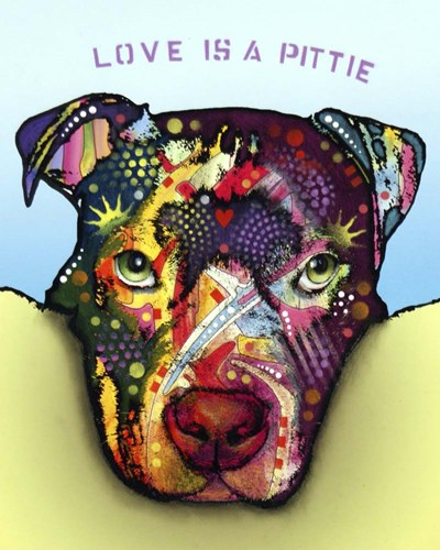 Love Is A Pittie Poster by Dean Russo for $40.00 CAD