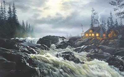 Rapids Cabin Poster by D. Rusty Rust for $42.50 CAD