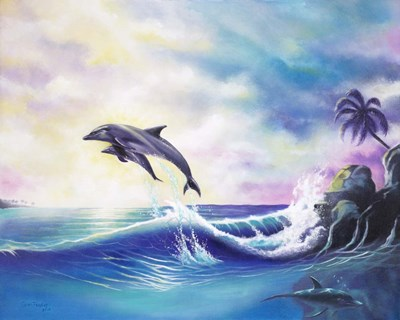 Dolphins Poster by Geno Peoples for $70.00 CAD