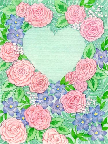 Roses on Green Heart Poster by Geraldine Aikman for $67.50 CAD