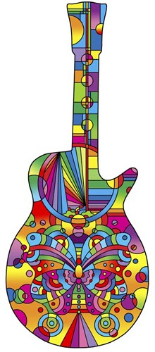 Pop Art Guitar Butterfly Poster by Howie Green for $56.25 CAD