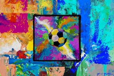 Window into the Soccer Universe - Pink and Cyan Football Poster by Jace D. McTier for $62.50 CAD